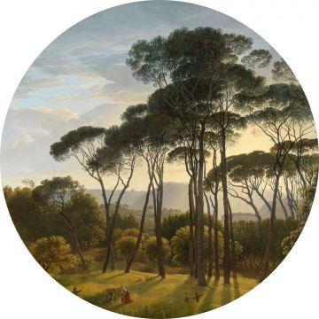 selbsklebende runde Tapete italienische Landschaft Dunkelgrün von ESTA home