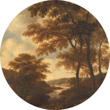 selbsklebende runde Tapete bewaldete Landschaft Orange von ESTA home