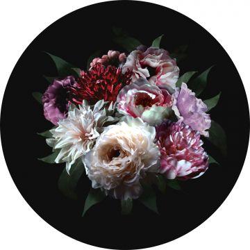 selbsklebende runde Tapete Blumenstillleben Multicolor auf Schwarz von ESTA home