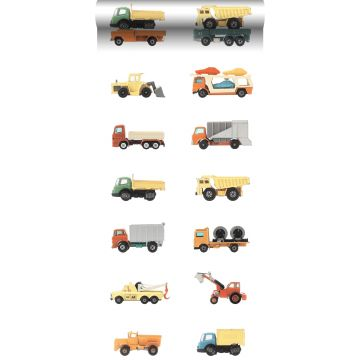 XXLVliestapete Lastwagen und Traktoren Gelb, Orange und Blau von ESTA home