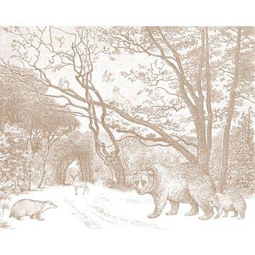 Fototapete Wald mit Waldtieren Terracotta von ESTA home