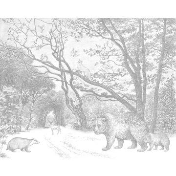 Fototapete Wald mit Waldtieren Grau von ESTA home