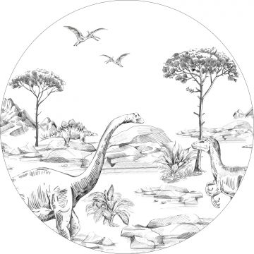 selbsklebende runde Tapete Dinosaurier Schwarz-Weiß von ESTA home