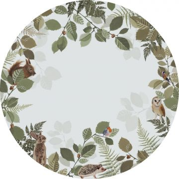 selbsklebende runde Tapete Waldtiere Grün und Braun von ESTA home
