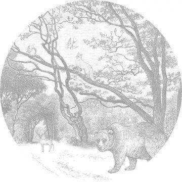 selbsklebende runde Tapete Wald mit Waldtieren Grau von ESTA home
