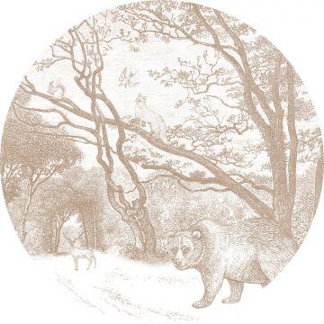 selbsklebende runde Tapete Wald mit Waldtieren Beigebraun von ESTA home