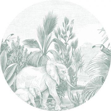 selbsklebende runde Tapete Dschungelmuster Grün von ESTA home