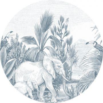 selbsklebende runde Tapete Dschungelmuster Blau von ESTA home
