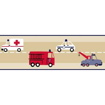 Tapetenborte Feuerwehrautos und Polizeiautos Beige, Rot und Blau von ESTA home