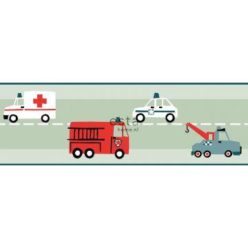 Tapetenborte Autos, Löschfahrzeuge, Hubschrauber und Kräne Mintgrün von ESTA home