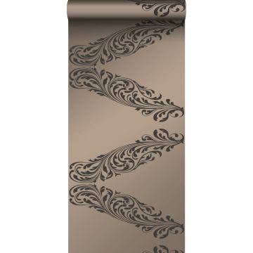 Tapete Ornamente Messing und Braun von Origin