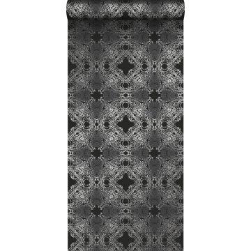 Tapete grafische Form Schwarz und Silber von Origin