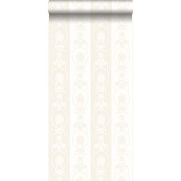 Tapete Ornamente Silber und Weiß von Origin