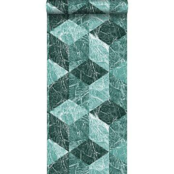 Tapete 3D Marmor Motiv Smaragdgrün von Origin