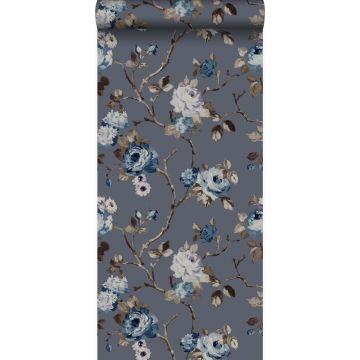 Tapete Blumen Vintage Blau und Taupe von Origin