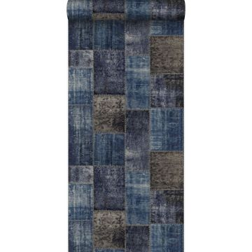 Tapete Kelim-Patchwork Taupe und Blau von Origin