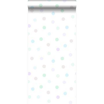 Tapete Punktmuster Pastellviolett, Pastell Mintgrün, Silbergrau und Pastellblau von Origin