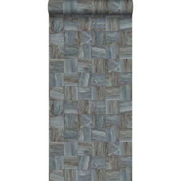 Eco Texture Vliestapete quadratische Holzstücke Hellgrau von Origin