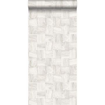 Eco Texture Vliestapete quadratische Holzstücke Crême-Weiß von Origin