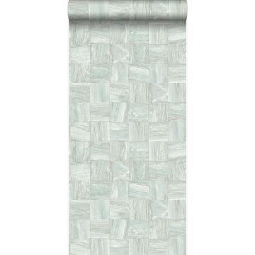 Eco Texture Vliestapete quadratische Holzstücke Graugrün von Origin