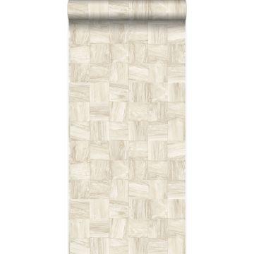Eco Texture Vliestapete quadratische Holzstücke Beige von Origin