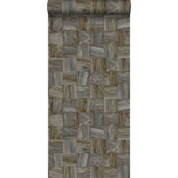 Eco Texture Vliestapete quadratische Holzstücke Dunkelbraun von Origin