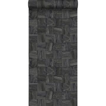 Eco Texture Vliestapete quadratische Holzstücke Schwarz von Origin