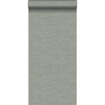 Tapete Leinen-Optik Graugrün von Origin