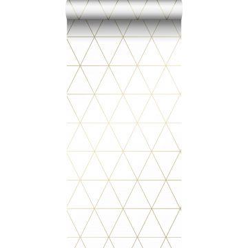 Tapete grafische Dreiecke Weiß und Gold von Origin