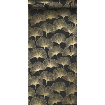 Tapete Ginkgoblätter Schwarz und Gold von Origin