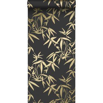 Tapete Bambusblätter Schwarz und Gold von Origin