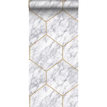 Tapete Sechseck mit Marmoreffekt Weiß, Grau und Gold von Origin