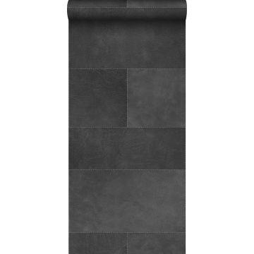 XXLVliestapete Fliesenmuster mit Lederoptik Dunkelgrau von Origin